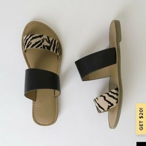 Lulus Cameo Tan & Black Tiger Sandals NBW 7.5